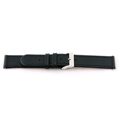 klokkerem i ekte lær 20mm svart med søm EX-J46