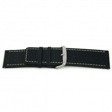 klokkerem i ekte skinn, svart med hvit søm 26mm EX-H79