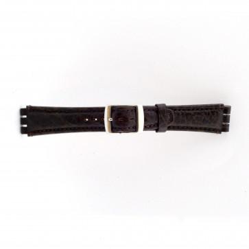 Rem for Swatch ekte lær mørk brun 19mm 21412