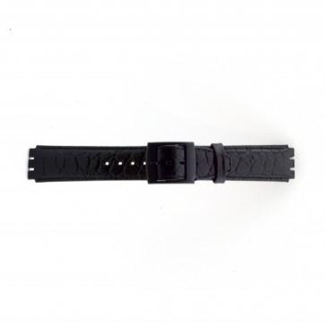 klokkerem for Swatch krokodille svart 17mm PVK-SC10.01