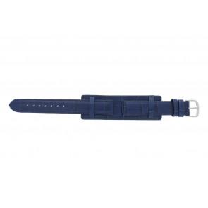 Klokkerem 61325.55.16 Lær Blå 16mm + søm blå