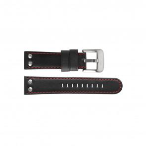 TW Steel klokkerem TW411 / TWB411 Lær Svart 24mm + søm rød
