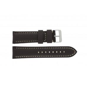 Klokkerem H038 XL Lær Brun mørk 22mm + søm hvit