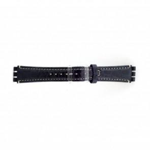 klokkerem i ekte lær for Swatch krokodille blå 19mm ES- 2.05