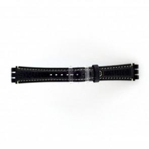 klokkerem i ekte lær for Swatch mørk blå / grå 19mm ES- 3.05