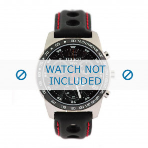 Tissot klokkerem J378-478 PR-50 - T600020323 Lær Svart 19mm + søm rød