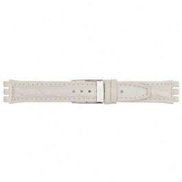 Klokkerem alternativ som passer for Swatch 247.20M Lær Hvit 19mm