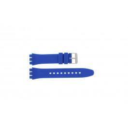 Klokkerem alternativ som passer for Swatch S07 Silikon Blå 19mm