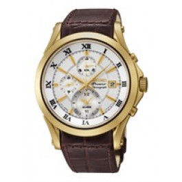 Klokkerem Seiko 7T62-0JW0 / SNAF22P1 / 4A071KL Lær Brun 21mm
