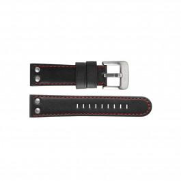 TW Steel klokkerem TWB411L Lær Svart 24mm + søm rød