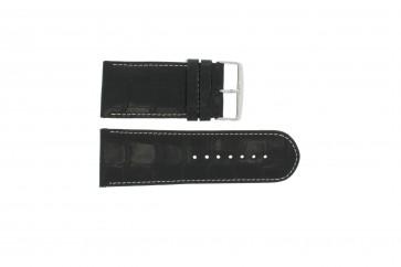 klokkerem i ekte lær krokodille svart WP-61324.24mm