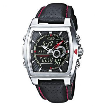Casio klokkerem 10224471 Lær Svart 17mm + søm rød