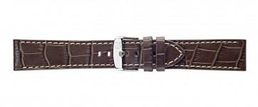 Morellato klokkerem Plain X4733480032CR24 / PMX032PLAIN24 Krokodilleskinn Brun mørk 24mm + søm hvit