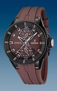 Klokkerem Festina F16612-2 / F16611-2 Gummi Brun 18mm