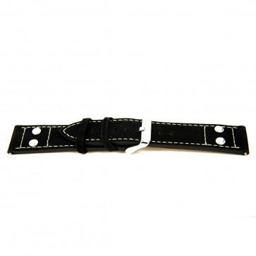 ekte lær svart 24mm 'grov struktur' EX-K469