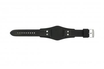 Fossil horlogeband CH2564 / CH2586 Leder Zwart 22mm + grijs stiksel