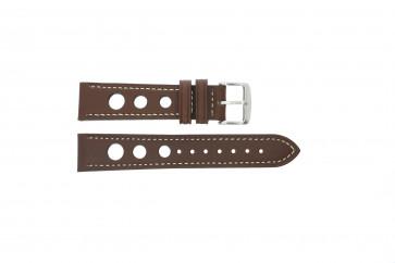 Horlogeband 682.02 Leder Bruin 20mm + wit stiksel