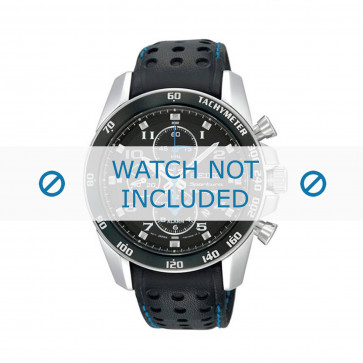 Seiko klokkerem SNAE79P1 / 7T62-0KV003B / L01M014J0 Lær Svart 22mm + søm blå