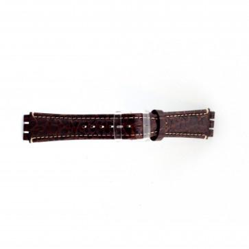 klokkerem i ekte lær for Swatch krokodille brun 19mm ES- 2.02