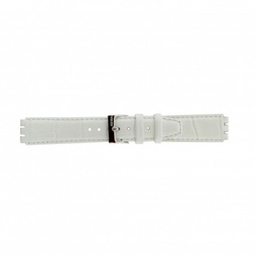 Rem for Swatch ekte lær hvit 17mm 21414