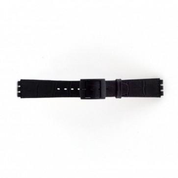 klokkerem for Swatch krokodille svart 16mm PVK-SC16.01