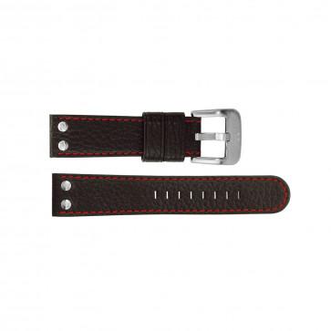 TW Steel klokkerem TWB28 Lær Svart 22mm + søm rød