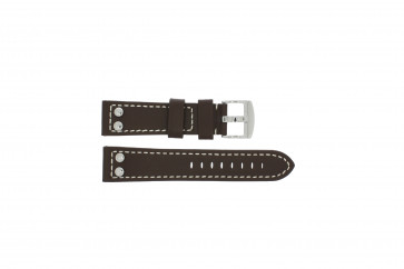 Tzevelion horlogeband Tzev.2844.02 Leder Bruin 24mm + wit stiksel
