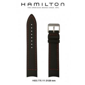 Klokkerem Hamilton H776350 / H001.77.635.333.01 Lær Svart 21mm