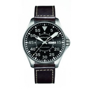 Klokkerem Hamilton H64715535 Lær Brun mørk 22mm