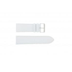 klokkerem i ekte lær hvit 30mm