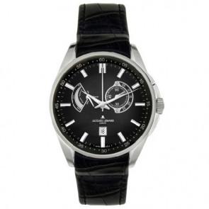 Jacques Lemans klokkerem G175 Lær Svart 22mm + søm svart