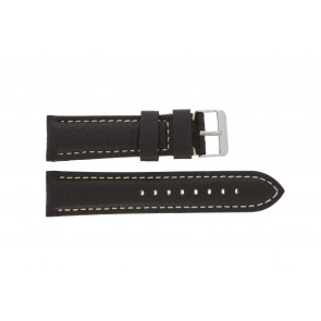 Klokkerem G038 XL Lær Brun mørk 20mm + søm hvit